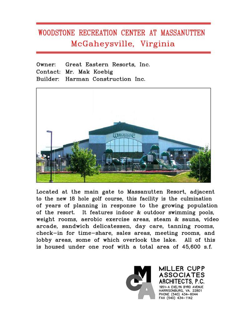 Woodstone Recreation Center at Massanutten